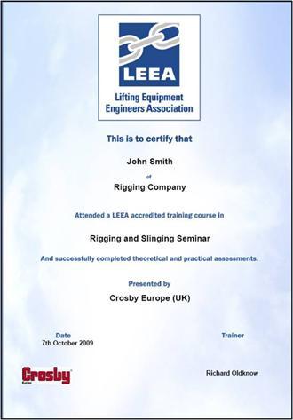 Free LEEA Certified Crosby Product Training